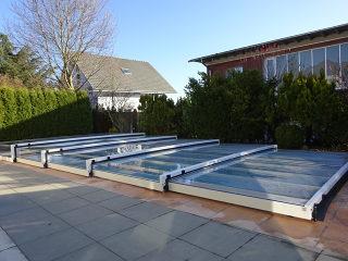 Die niedrigste Schiebeüberdachung für Ihren Pool