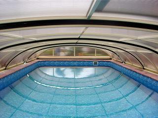 Der Innenraum der Schwimmbadüberdachung ELEGANT