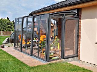 Terrassenüberdachung CORSO Premium mit dunkel aluminium profilen