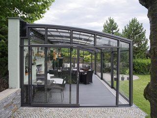 Vorderansicht Der Terrassenüberdachung Corso Premium