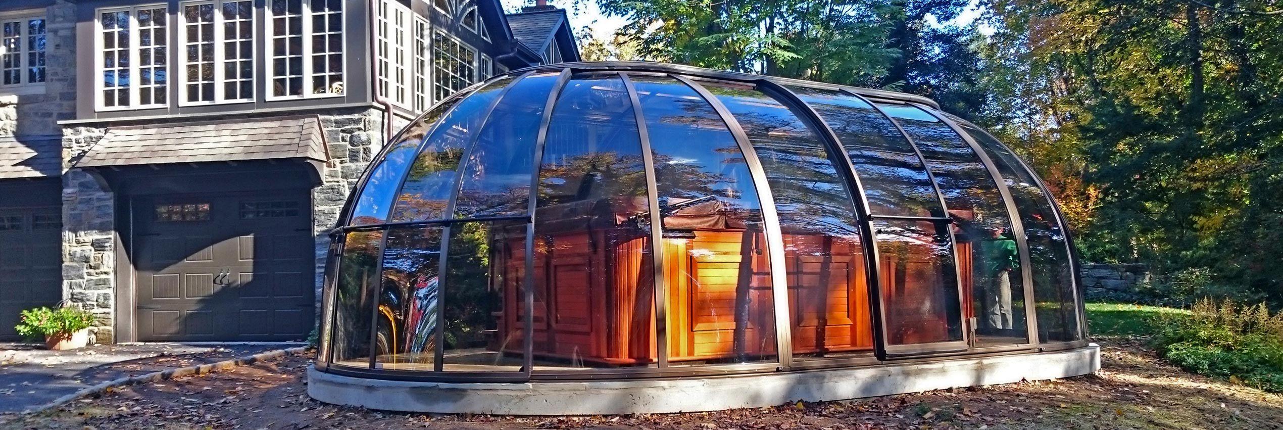 Aufgeschobene Spaüberdachung SPA Sunhouse