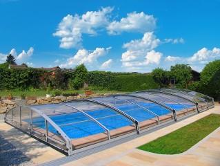 Moderne schiebbare Schwimmbadüberdachung Imperia