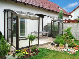 Terrasseneinfriedung Corso Premium in Bronzeausführung
