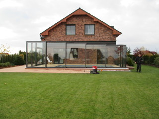 Terrassenüberdachung CORSO Glas Mit Seitenwänden Sowie Dem Dach Aus Echtem  Glas