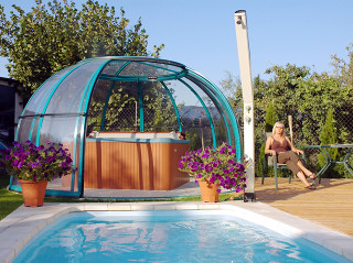 Openable hot tub enclosure SPA DOME ORLANDO with woodlike imitation color on its frames