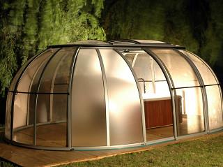 Retractable hot tub enclosure SPA SUNHOUSE made by Alukov