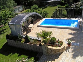 Look from above on pool enclosure Ravena