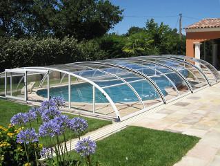 Low retractable pool enclosure ELEGANT NEO