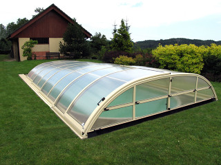 Swimming pool enclosure ELEGANT NEO with silver frames
