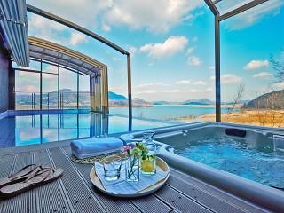 View on the sea from patio enclosure CORSO Premium