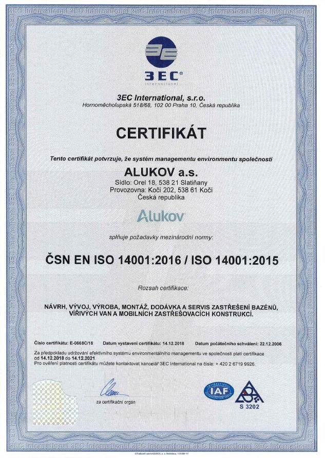Certifikát ISO 9001 pro společnost Alukov