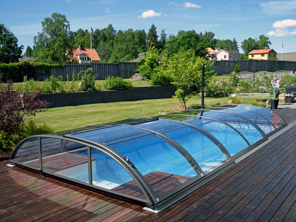 Swimming pool enclosure AZURE Flat compact - silver color