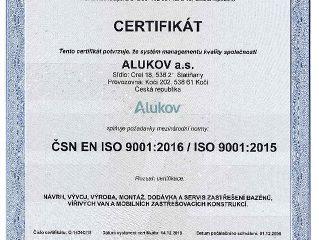 Nový certifikát pro společnost Alukov - ISO 9001