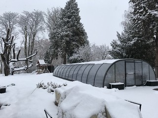 Zastřešení bazénu Laguna pod sněhem