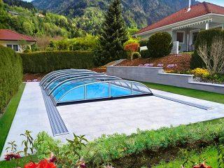 Typové zastřešení bazénu Azure Flat Compact Typ 6