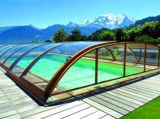 Imitace dřeva - zastřešení bazénu ELEGANT NEO™
