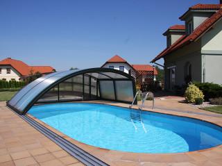Bazénové zastřešení RAVENA bez využití čelní stěny