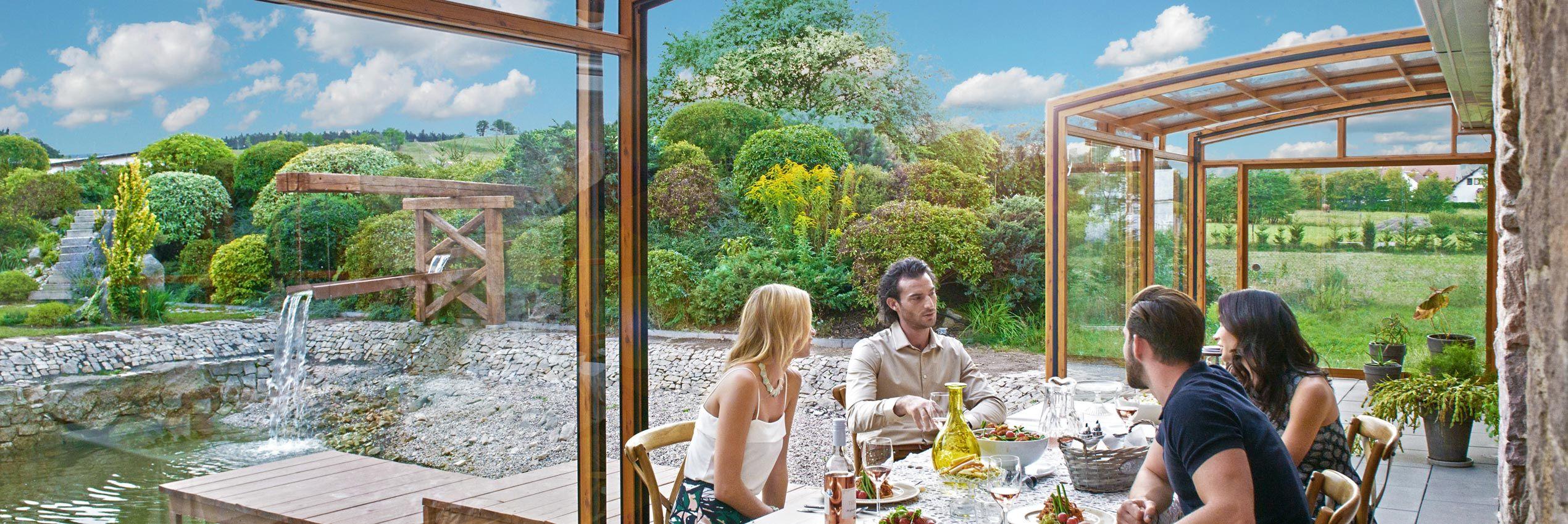 Aufgeschobene Terrassenüberdachung CORSO Premium