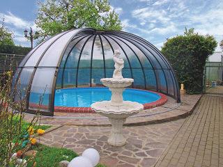 Schiebeüberdachung für runde Pools ORIENT von ALUKOV
