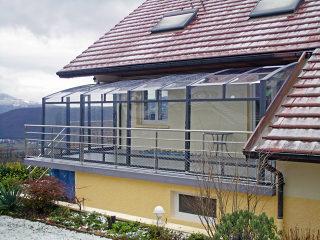 Balkonüberdachung CORSO mit kinderleichter Verschiebung