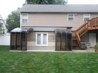 Terrassenüberdachung CORSO Premium - Anhthrazit farbton - geöffnet