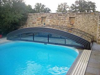 Abri de piscine IMPERIA NEO light entièrement ouvert - structure foncée