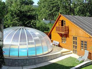 Abri de piscine rond ORIENT sur piscine ronde - argenté