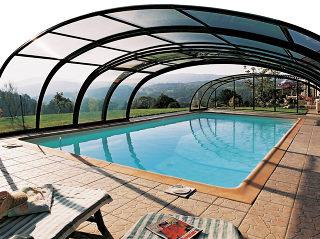 Abri pour piscine enterrée modèle  TROPEA NEO - structures foncées