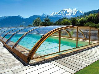 Couverture de bassin télescopique ELEGANT à finition en imitation bois