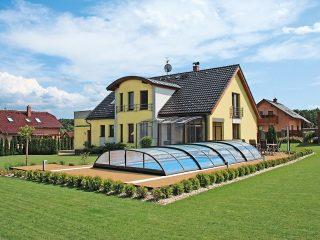 L'abri de piscine télescopique contemporain ELEGANT NEO