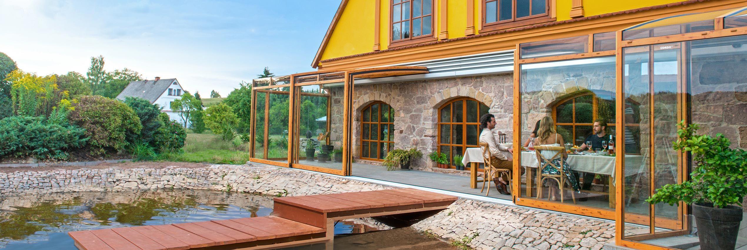 Opened patio enclosure CORSO Premium