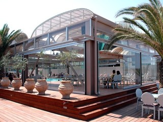 Retractable pool enclosure for public swimming pool 09