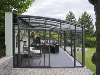Front view on patio enclosure CORSO Premium