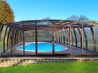 Fully closed pool enclosure Omega with brown finish