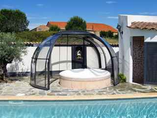 Dark frames used on hot tub enclosure OASIS