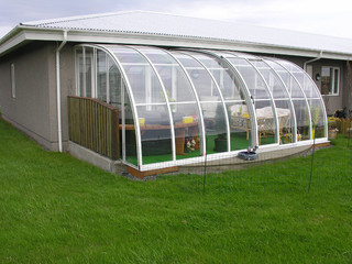 Patio enclosure CORSO Entry with white aluminium frames