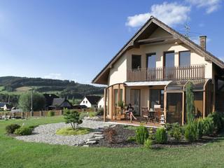Terrace enclosure CORSO in with wood-like imitation on aluminium profiles