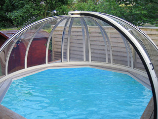 Openable pool cover ORIENT - woodlike imitation