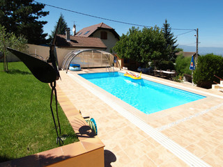 Popular wood-like imitation used on construction of swimming pool enclosure UNIVERSE