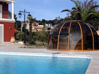 coperture piscine modello Oralndo in colore legno