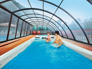 Copertura per piscina modello ravena copertura scorrevole di design asimmetrico - Piscina comunale ravenna prezzi ...