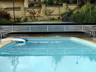 copertura per piscina trasparente