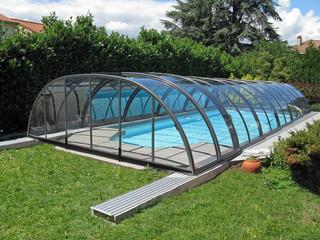 Copertura piscina telescopica per la piscina alta con profili in alluminio e policarbonato colore azzurro