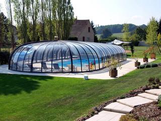 Copertura piscina telescopica lussuosa con profili in alluminio e policarbonato con la semi apertura