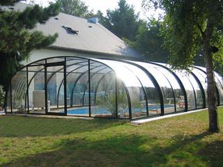 copertura telescopica per la piscina medio alta in colore legno