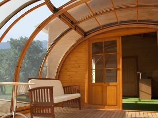 Guarda dentro la copertura per idromassaggio SPA: Oasis – montata sulla casetta di legno. Profili in colore imitazione legno