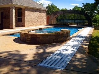Fully retracted pool enclosure Laguna