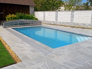 Opened swimming pool cover Corona
