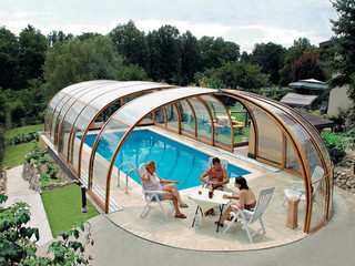 Pool enclosure OLYMPIC can by fully opened on the front side of the cover