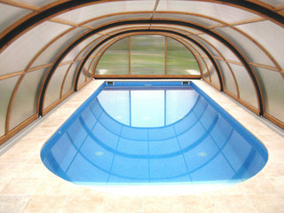 Inner space of pool cover UNIVERSE used to relax